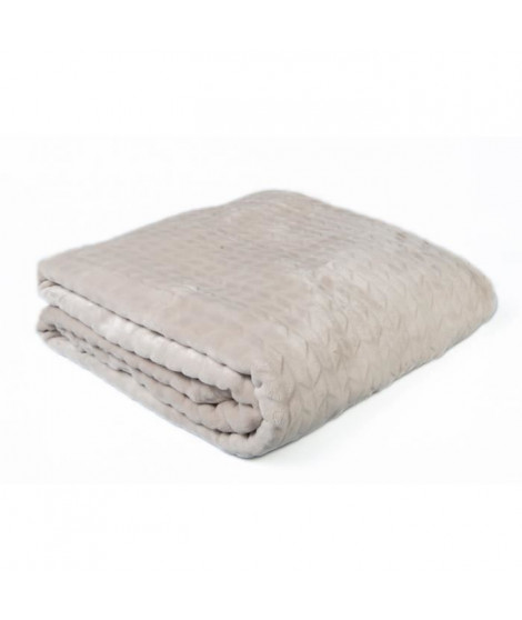 Plaid microfibre grand luxe motifs chevrons 150x200 cm sable