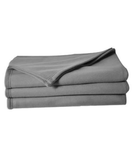 POLUNO Couverture maille polaire 180x220 cm gris