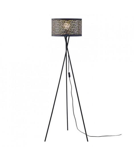 Lampadaire Trépied Métal Noir - Abat jour Tissu Noir Perforé - Diam 34 x H 140 cm