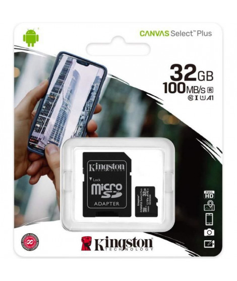 KINGSTON Canvas Select Plus SDCS2 32Go 32 go Micro SD Carte Mémoire Class 10 A1 100Mo/s+ Adaptateur inclus