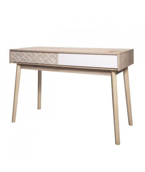 SOFIA Bureau 3 tiroirs - Bois avec motif - L 120 x P 55 x H 78 cm