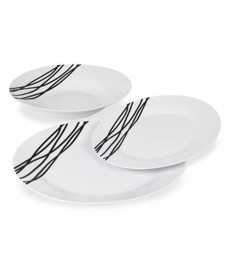 ETHNIQUE Service en porcelaine de 18 pieces -Blanc