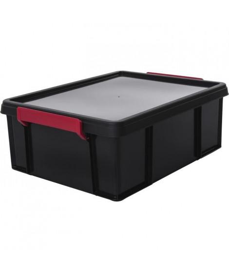 IRIS OHYAMA Boîte de rangement empilable avec couvercle - Multi Box - MBX-18 - Plastique - Noir, rouge et transparent - 18 L