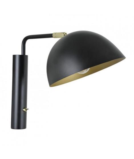 MILES Applique en métal - Tete articulée 360° - H 27,5 cm - Noir et laiton - E14 40W