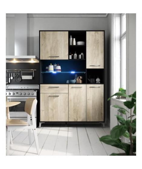 ECO Buffet de cuisine avec LED L 120 cm - Décor chene et noir mat