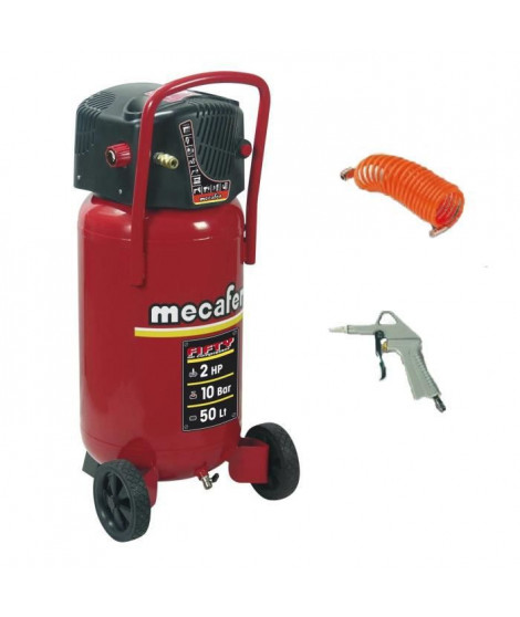 MECAFER Compresseur vertical 2 CV Fifty 50L 10 Bar avec tuyau et soufflette bec court