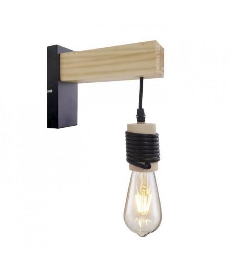 DETROIT Applique industrielle en bois - 6 x 15 x H20 - Noir - Ampoule décorative E27 40W fournie