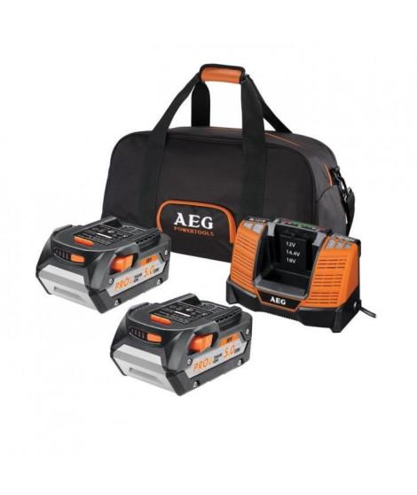 AEG Pack de chargeur et 2 batteries SETLL1850BL - 18 V - 5 Ah Li-ION