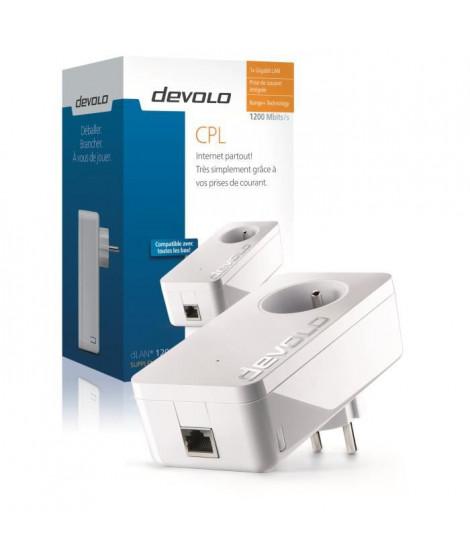 DEVOLO CPL filaire 1200 Mbit/s + 1 port Gigabit Ethernet, Prise Filtrée Intégrée Modele 9370 dLAN 1200+