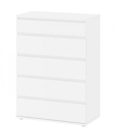 Commode 5 tiroirs - Décor blanc - L 76,8 x P 40 x H 106,60 cm - OMAHA