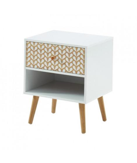 CAPUCINE Table de chevet - Blanc et chene - L 40 x P 33 x H 49cm