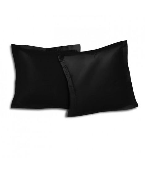 Lot de 2 Taies d'oreillers 100% coton 63x63 cm - Noir