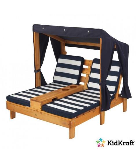 KIDKRAFT 00524 Double chaise longue pour Enfantavec porte-gobelets - Miel et bleu marine