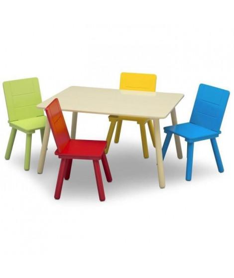 DELTA KIDS Table rectancgulaire beige + 4 chaises bois multicolor