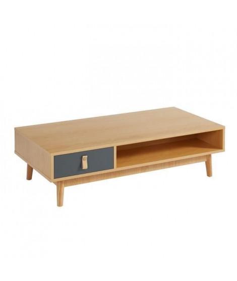 CAMBRIDGE Table basse poignée en cuir - Décor chene clair et gris foncé