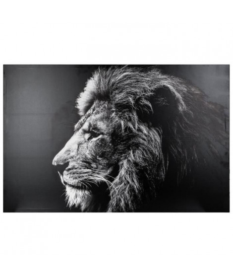 Toile imprimée Lion- 78 x 118 cm - Noir et blanc