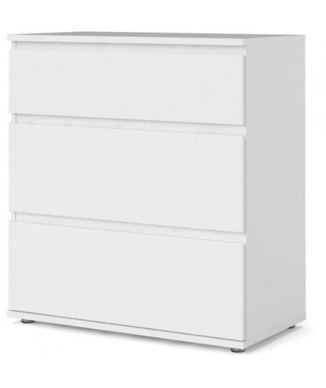 Commode 3 tiroirs - Décor blanc - L 76,8 x P 40 x H 83,70 cm - OMAHA