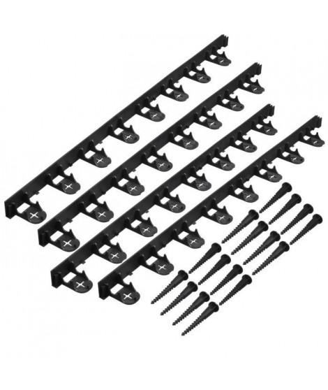 NATURE Bordure a gazon en polypropylene et polyéthylene - 16 ancres - H 4,5 x (4 x L100) cm - Noir