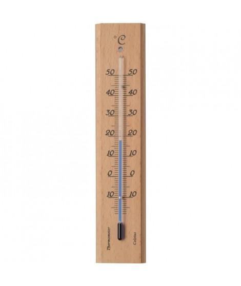 NATURE Thermometre mural intérieur/extérieur en bois 19 X 4 X 1