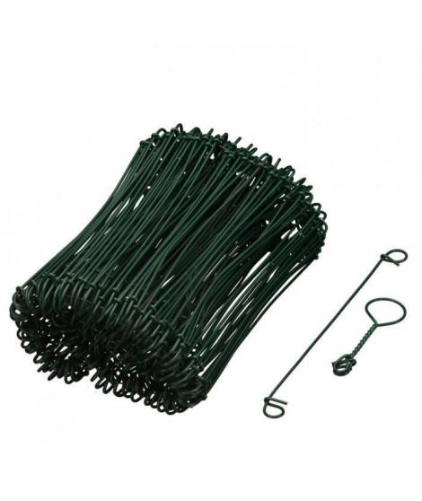 NATURE Lot de 200 Liens a boucle en acier galvanisé plastifié naturellement vert - (L16 cm x Ø1,4 mm)