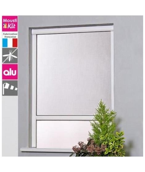 Moustiquaire enroulable en aluminium pour fenetre L150 x H160 cm gris - MOUSTIKIT