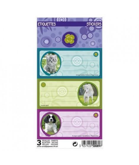 ANIMAUX DOMESTIQUES 9 étiquettes adhésives 3 planches - 75 x 100 mm - 3 visuels assortis sous sachet