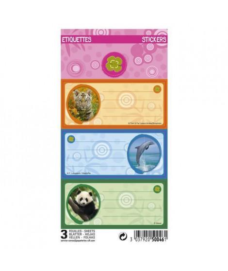 ANIMAUX SAUVAGES 9 étiquettes adhésives 3 planches - 75 x 100 mm - 3 visuels assortis sous sachet