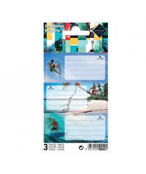 RIP-CURL LIVE THE SEARCH 9 étiquettes adhésives 3 planches - 75 x 100 mm - 3 visuels assortis sous sachet