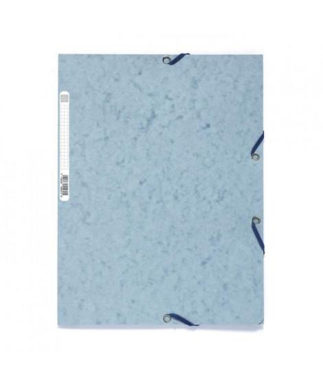 EXACOMPTA - Chemise a élastiques 3 rabats - 24 x 32 - Carte lustrée 390G - Couleur gris tourterelle