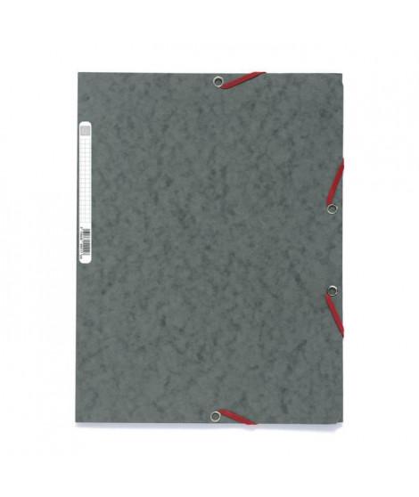 EXACOMPTA - Chemise a élastique - 3 rabats - 24 x 32 - Carte lustrée 390G - Gris