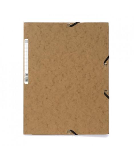 EXACOMPTA - Chemise a élastiques 3 rabats - 24 x 32 - Carte lustrée 390G - Couleur tabac
