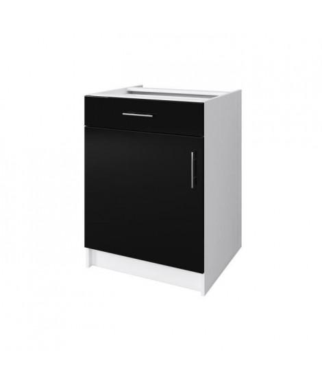 OBI Caisson bas de cuisine avec 1 porte, 1 tiroir L 60 cm - Blanc et noir laqué brillant