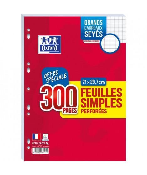 OXFORD - Feuilles simples perforées 300 pages seyes - 90g