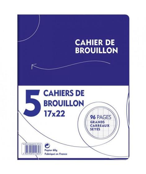 1ER PRIX - LOT DE 5 CAHIER DE BROUILLON PIQURE 17X22096 PAGES SEYES