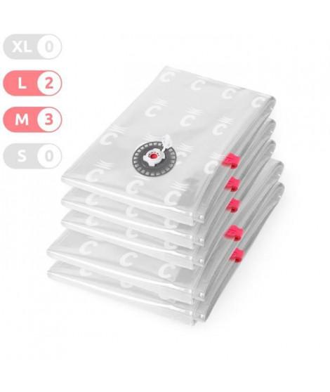COMPACTOR Lot de 5 Housses de compression - Taille M - Transparent