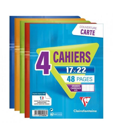 CLAIREFONTAINE Lot de 4 cahiers piqure 48 pages - 170 x 220 mm - Seyes papier PEFC 90 g - Couverture pelliculée