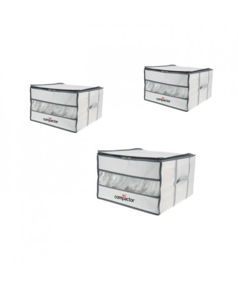 COMPACTOR Lot de 3 Housses de rangement sous vide Vision - 125 L - Blanc