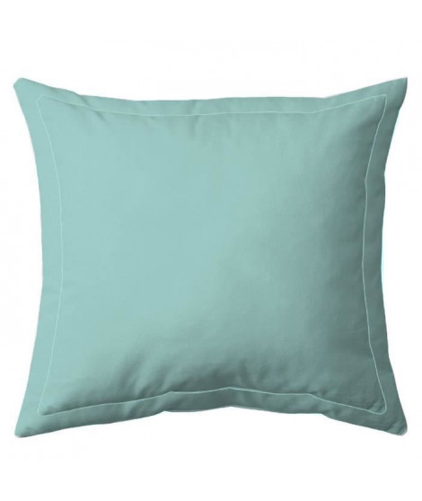 COTE DECO Taie d'oreiller 100% percale de coton - 63x63 cm - Bleu céladon