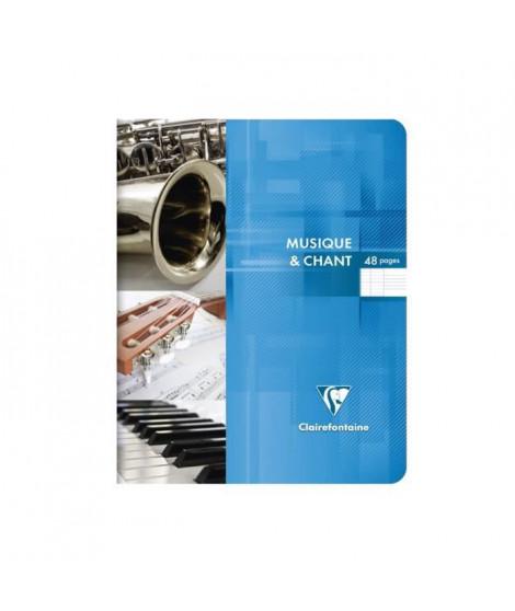 CLAIREFONTAINE - Cahier de musique - 17 x 22 - 48 pages Seyes + Musique - Couverture pelliculée - 3 couleurs aléatoires