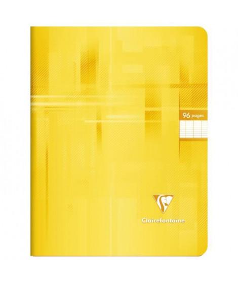 CLAIREFONTAINE - Cahier piqûre - 17 x 22 - 96 pages Seyes - Couverture pelliculée - Couleur jaune