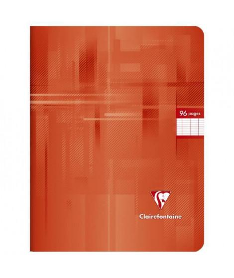 CLAIREFONTAINE - Cahier piqûre - 17 x 22 - 96 pages Seyes - Papier P.E.F.C 90G - Couleur rouge