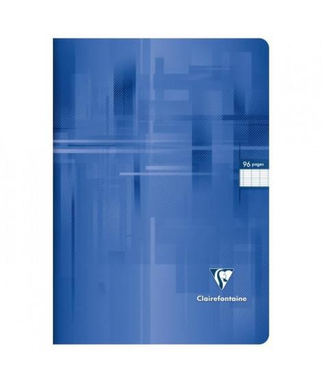 CLAIREFONTAINE - Cahier piqûre - 21 x 29,7 - 96 pages Seyes - Couverture pelliculée - Couleur bleue