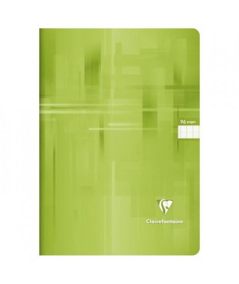 CLAIREFONTAINE - Cahier piqûre - 21 x 29,7 - 96 pages Seyes - Couverture pelliculée - Couleur verte