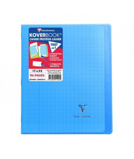 CLAIREFONTAINE - Cahier piqûre KOVERBOOK - 17 x 22 - 96 pages Seyes - Couverture Polypro translucide - Couleur bleue
