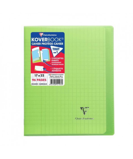 CLAIREFONTAINE - Cahier piqûre avec rabats KOVERBOOK - 17 x 22 - 96 pages Seyes - Couverture polyproplylene translucide - Verte