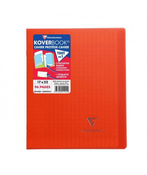 CLAIREFONTAINE - Cahier piqûre avec rabats KOVERBOOK - 17 x 22 - 96 pages Seyes - Couverture polyproplylene translucide - Rouge