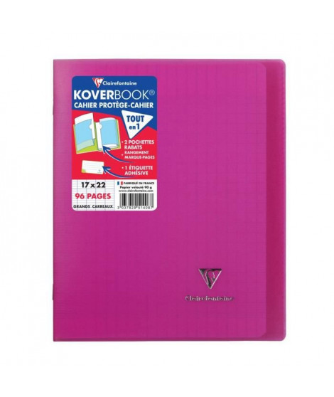 CLAIREFONTAINE - Cahier piqûre KOVERBOOK - 17 x 22 - 96 pages Seyes - Couverture Polypro translucide - Couleur rose
