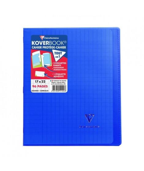 CLAIREFONTAINE Koverbook Cahier piqure 96 pages avec rabats - 170 x 220 mm - Seyes papier PEFC 90 g - Bleu marine