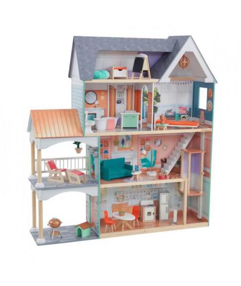 KidKraft - Maison de poupées en bois Dahlia - 65987 - 30 accessoires inclus - son et lumiere - assemblage EZkraft