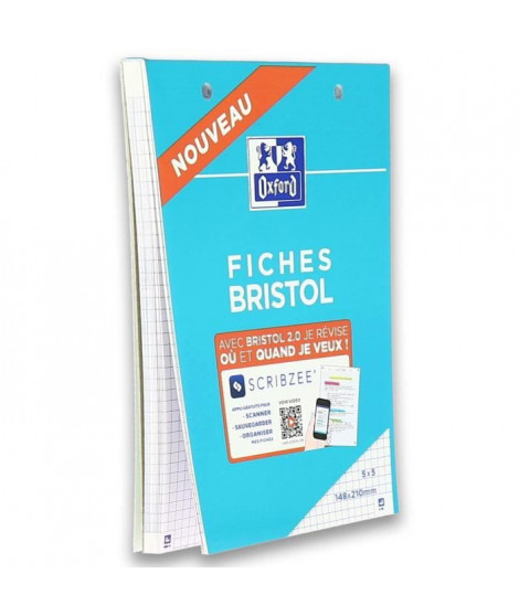 OXFORD - Bloc fiche bristol 2.0 perforé - 14,8 x 21 cm - 30 fiches - 210g - 5x5